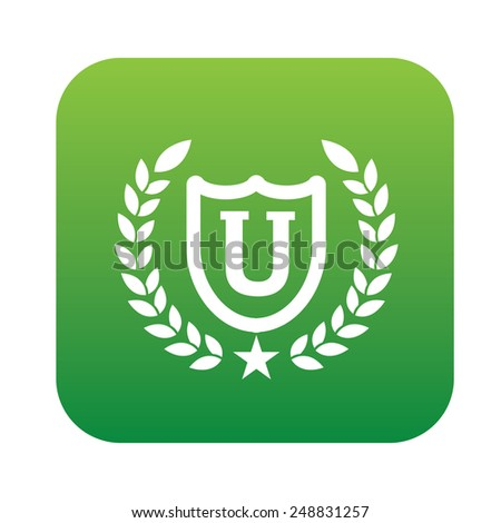 Education symbol design on green button,clean vector - stock vector