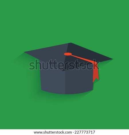 Education  symbol on green background,clean vector - stock vector