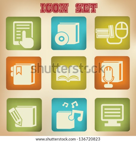 Education technology icon set,vintage style,vector - stock vector