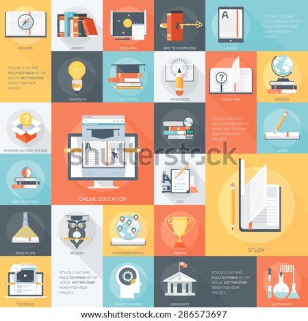 Education Theme Stylish, minimal and fully editable vector icon set, ready for your project - stock vector