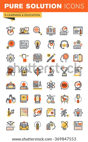 Education thin line flat design web icons collection. Icons for web and app design, easy to use and highly customizable. - stock vector
