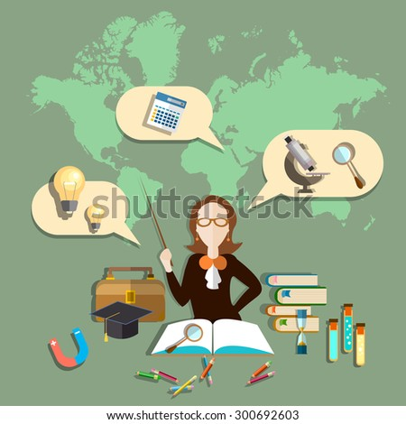 Education training teacher blackboard students online education, international studies college university school biology chemistry physics lessons vector illustration - stock vector