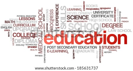 Education Word Cloud Bubble Tags Tree Detailed Vector - stock vector