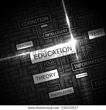 EDUCATION. Word cloud concept illustration. - stock vector