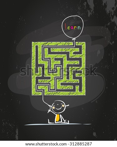 Educational learning for kids conceptual vector illustration, with labyrinth, maze. Doodle style chalk on blackboard hand drawn illustration.  - stock vector