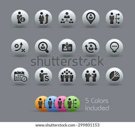 Efficiency and Business Strategies // Pearly Series ----- The Vector file includes 5 color versions for each icon in different layers ----- - stock vector