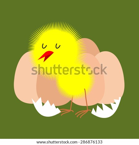 Egg and chicken. Furry chick hatched from an egg. Vector illustration. - stock vector