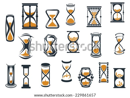 Egg timers and hourglasses in brown and black in various shapes showing sand running through measuring passing time, vector illustration on white - stock vector