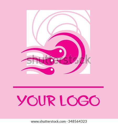 Egg with sperm. Vector logo. Pink icon. Stylized fertilization process. - stock vector