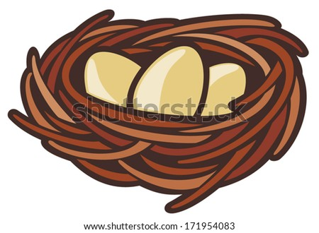 eggs and nest - stock vector