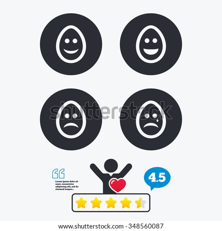 Eggs happy and sad faces icons. Crying smiley with tear symbols. Tradition Easter Pasch signs. Star vote ranking. Client like and think bubble. Quotes with message. - stock vector
