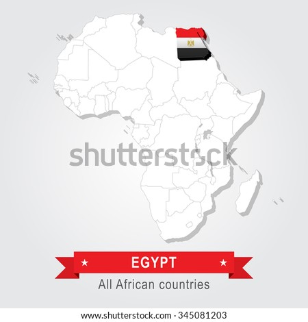Egypt. All the countries of Africa. Flag version. - stock vector