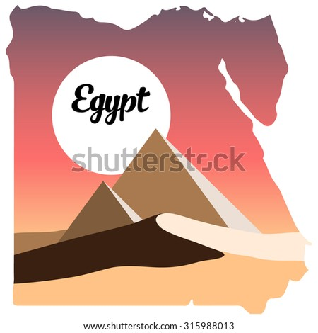 Egypt logo, Egypt map, desert and the pyramids, vector desert, Egypt, sunrise in desert, sunset in desert - stock vector