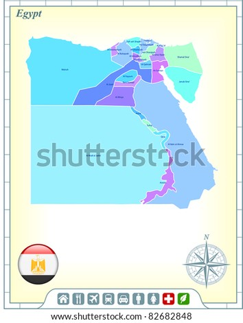 Egypt Map with Flag Buttons and Assistance & Activates Icons Original Illustration - stock vector