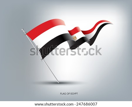 Egyptian flying flag in isolated background - stock vector