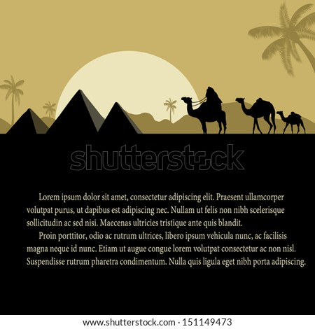 Egyptian pyramids with camels caravan at sunset with space for your text, vector illustration - stock vector