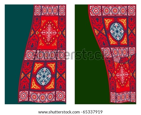 Egyptian Tent Fabric Curtain Style2-vector - stock vector