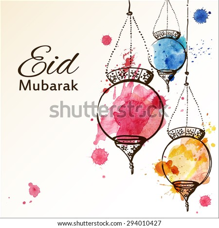 Eid Mubarak background. Eid Mubarak - traditional Muslim greeting. Festive hanging watercolor arabic lamps. Greeting card or invitation for Moslem Community events. Vector illustration. - stock vector
