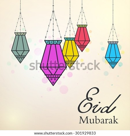 Eid Mubarak background with colorful arabic lamps - stock vector