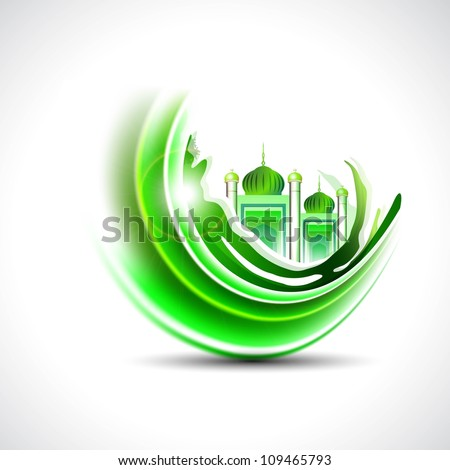Eid Mubarak background with moon and Mosque or Masjid in green color. EPS 10. - stock vector