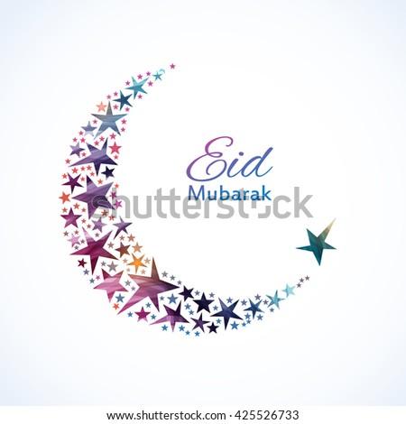 Eid Mubarak card. Ramadan greetings background. A colorful moon. Vector illustration - stock vector