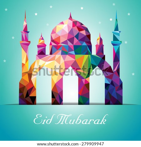 Eid Mubarak Colorful Mosaic Mosque - stock vector