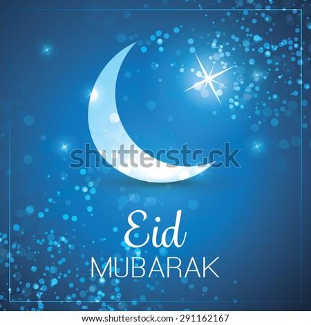 Eid Mubarak - Moon in the Sky - Greeting Card for Muslim Community Festival - stock vector