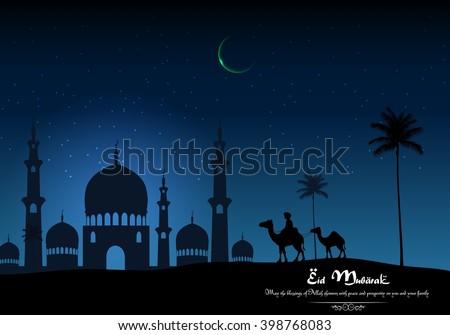Eid mubarak with camel walks through and mosque in desert on night day.Vector - stock vector