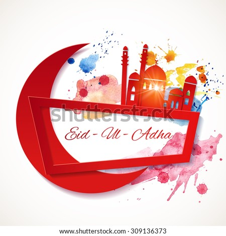 Eid-Ul-Adha banner. Muslim greetings background with paper moon and mosque. Vector illustration - stock vector