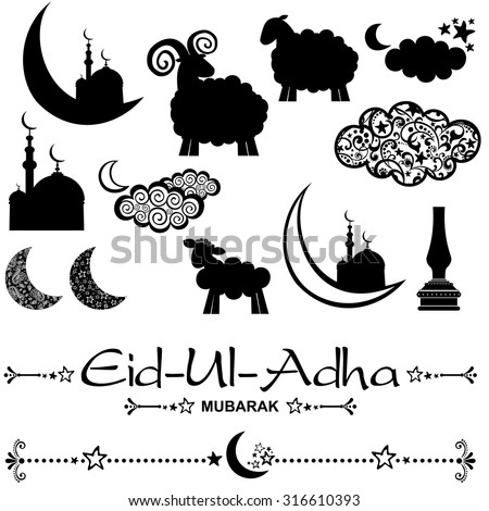 Eid-Ul-Adha icons set isolated on White background. Vector illustration - stock vector
