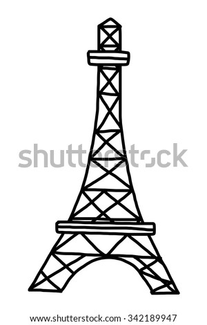 Eifel tower / cartoon vector and illustration, black and white, hand drawn, sketch style, isolated on white background. - stock vector