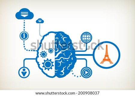 Eiffel tower and abstract human brain, the concept of the information movement - stock vector