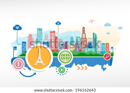 Eiffel tower and cityscape background with different icon and elements. Design for the print, advertising. - stock vector