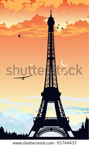 Eiffel Tower at sunset - stock vector