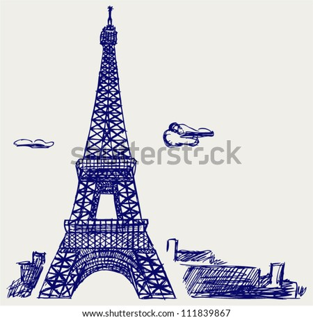 Eiffel Tower in Paris. Doodle style - stock vector