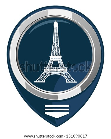Eiffel Tower in Paris, France - map pointer - stock vector
