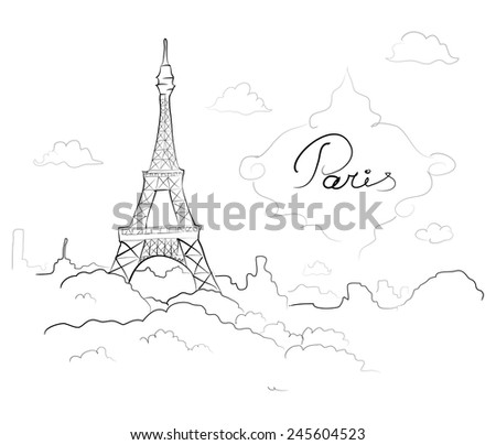 Eiffel tower in Paris, France. Sketch vector  - stock vector