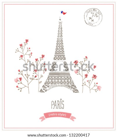 Eiffel tower in Paris, post card - stock vector