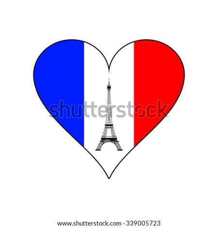 Eiffel tower in the middle of heart in the colors of the French flag - stock vector