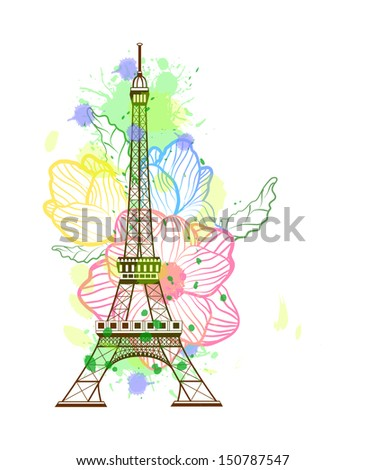 Eiffel tower isolated over the white background - stock vector
