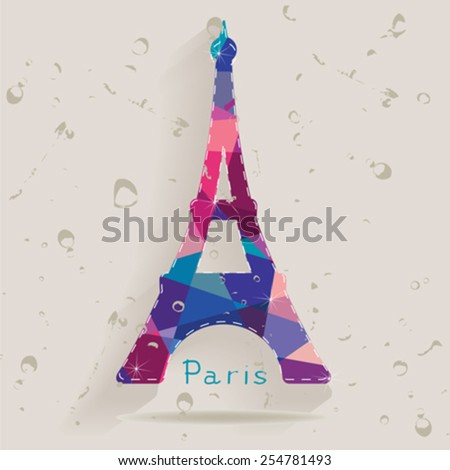 Eiffel tower made of triangles - stock vector