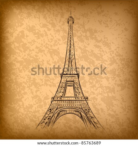 eiffel tower on the old paper - stock vector