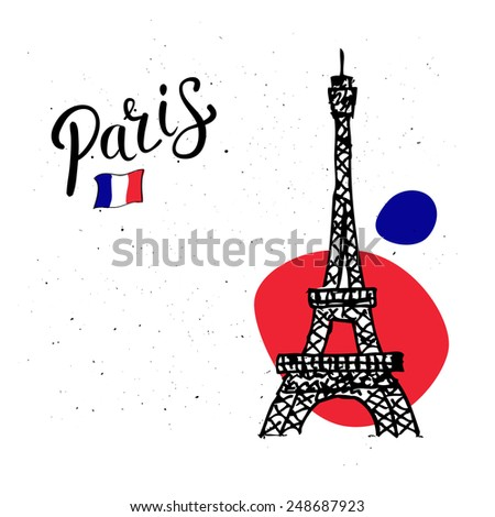Eiffel Tower, Paris card design with a hand-drawn doodle sketch of the tower and national flag on an abstract speckled white background with copyspace - stock vector