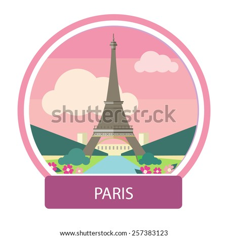 Eiffel tower, Paris. France. Poster concept in cartoon style with text - stock vector