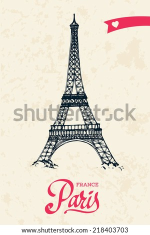 Eiffel tower parisian symbol hand drawn vector illustration - stock vector