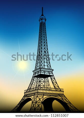 Eiffel tower, vector illustration - stock vector