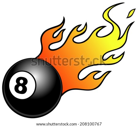 Eight ball with Flames - stock vector