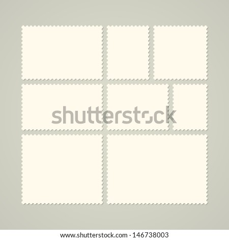 Eight blank postage stamps, vector templates with place for your images and text - stock vector