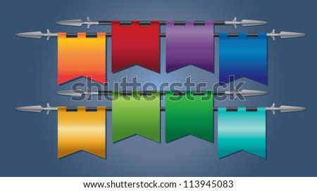 Eight colorful banner flags hanging from a medieval spear - stock vector