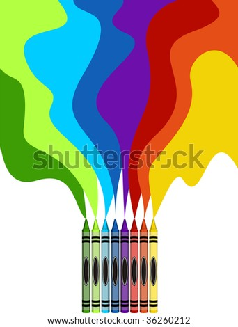 Eight colorful crayons and rainbow drawing isolated on white background - stock vector